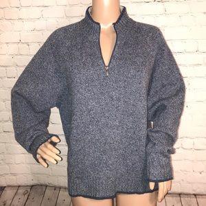Woolrich 1/4 zip sweater wool denim mix Large